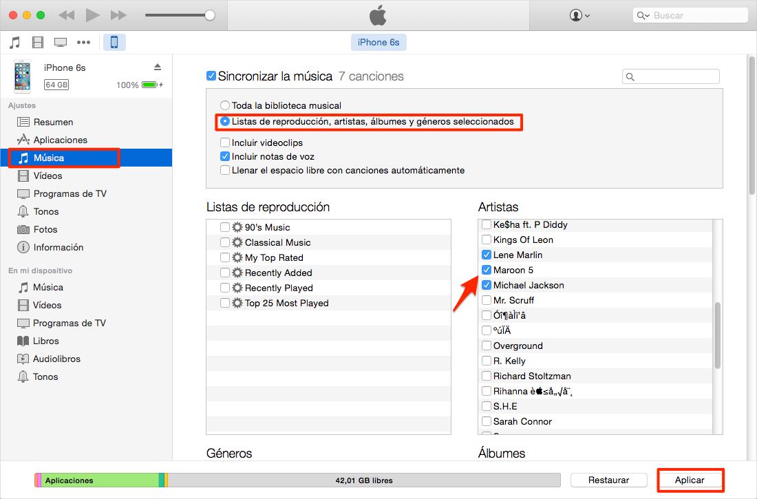 Sincroniza Canciones seleccionadas al iPhone a través de iTunes