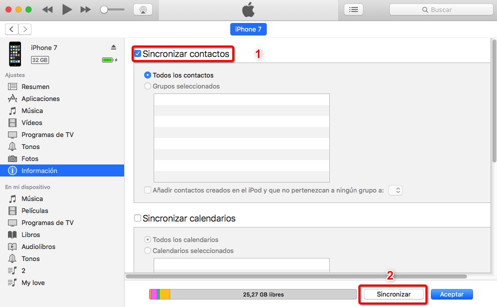 Cómo obtener contactos desde el iPhone al iPad - paso 1