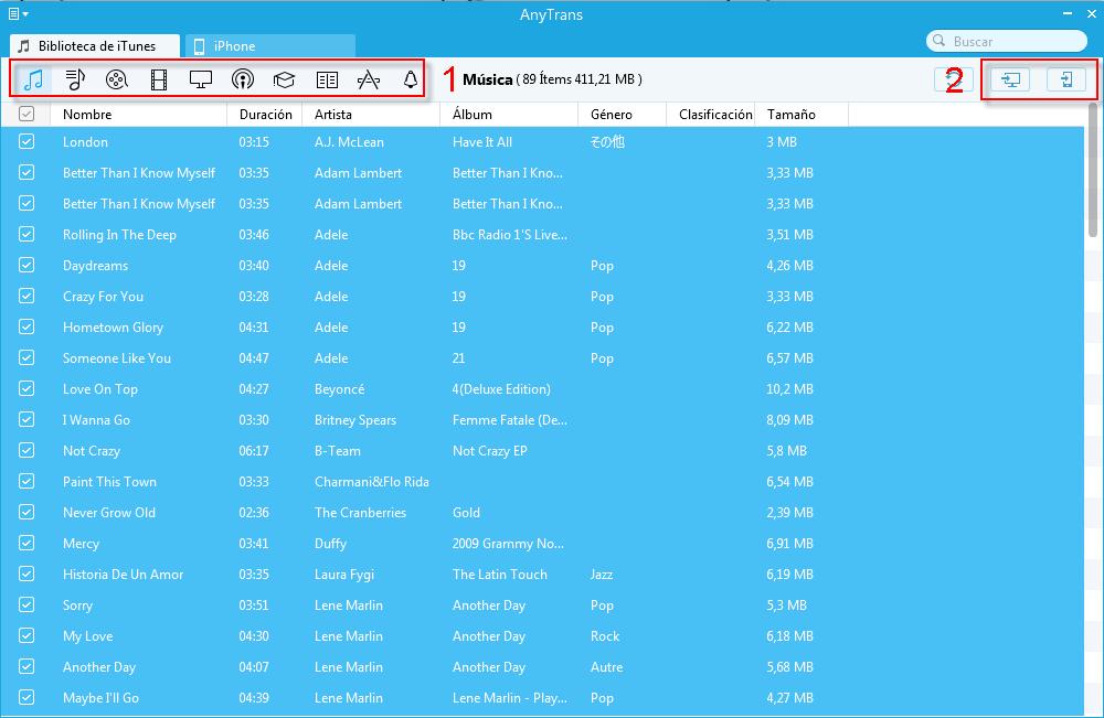 Sincronizar la biblioteca de iTunes a iPhone con AnyTrans