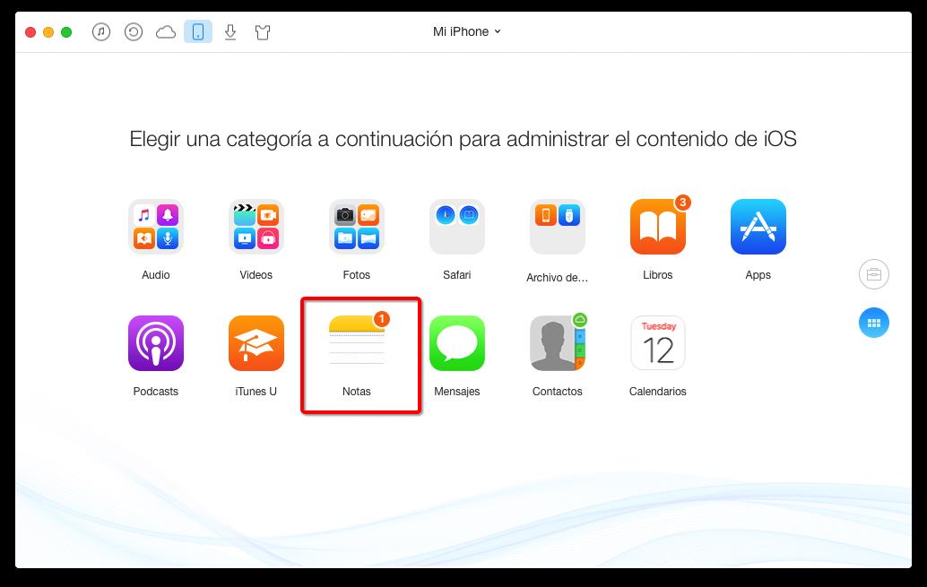 Cómo pasar notas de iPhone a ordenador con AnyTrans – paso 3
