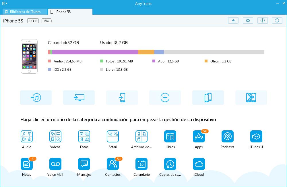 Mejor Alternativa a iTunes para gestionar Contenidos iOS – Inicio de AnyTrans