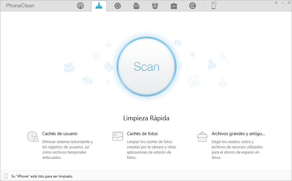 Mejor Alternativa a iTunes para limpiar almacenamiento de iDevice: Inicio de PhoneClean