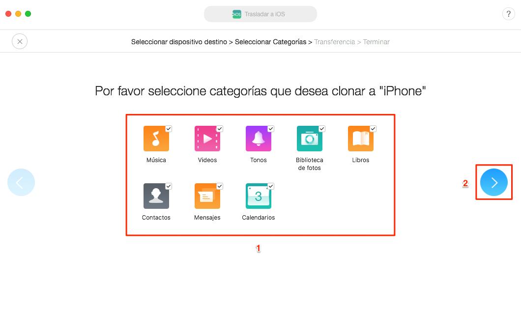 Cómo transferir archivos de Android a iPhone directamente - Paso 2