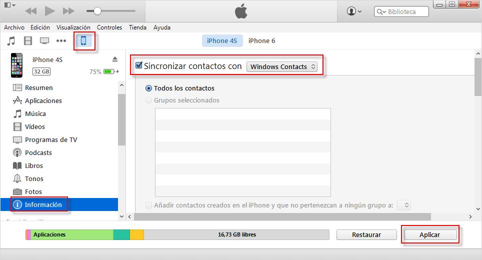 Cómo transferir contactos desde el iPhone a iPhone con iTunes - Paso 1