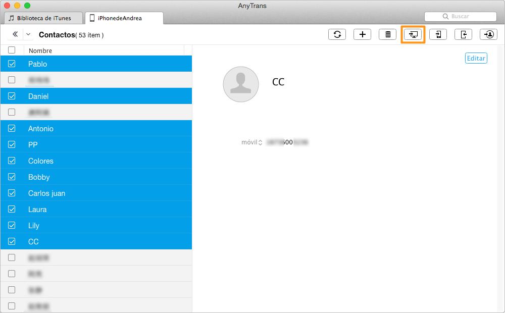 Cómo transferir contactos de iPhone al ordenador con AnyTrans - Paso 3