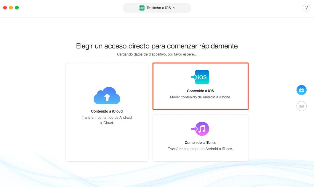 Transferir datos de Samsung a iPhone directamente - Paso 2