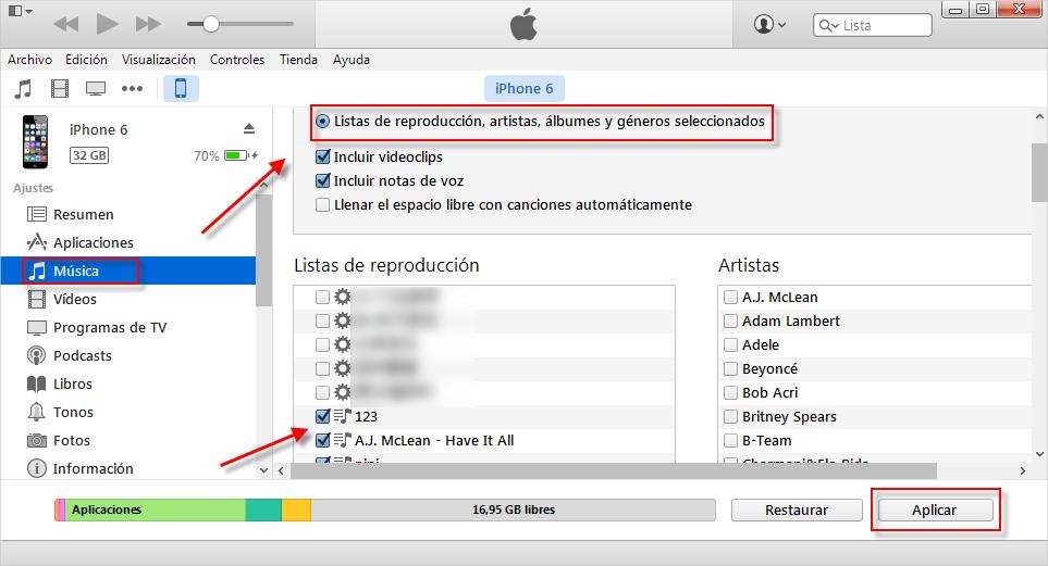 Cómo transferir lista de reproducción para iPhone con iTunes - Paso 3
