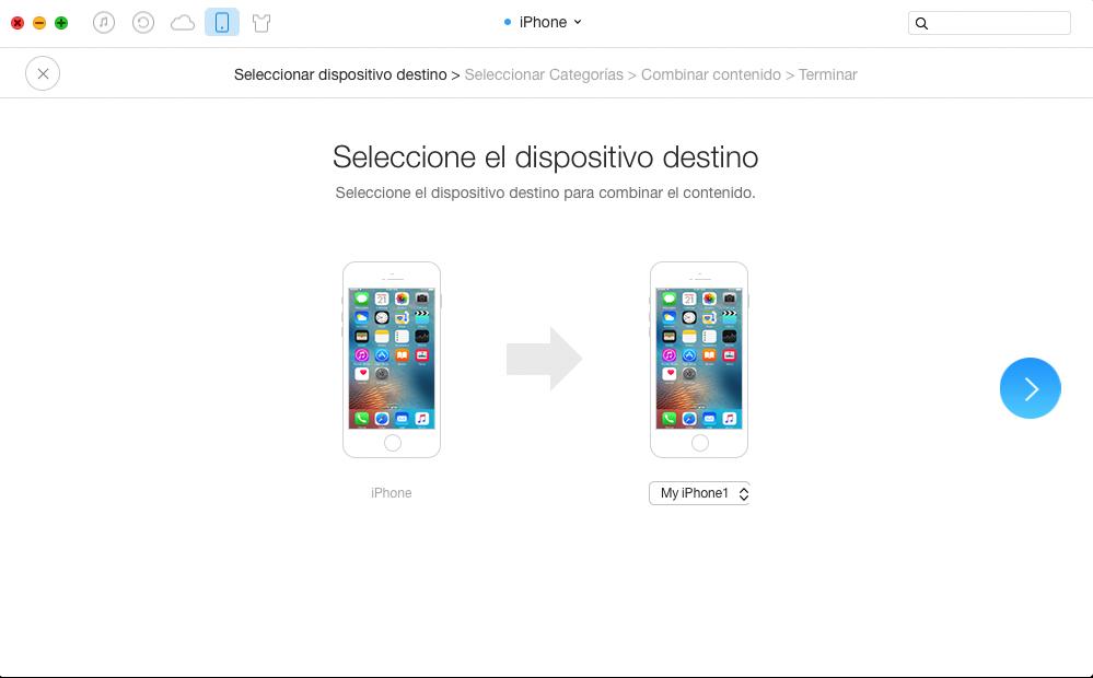 Combinar SMS desde el iPhone a otro con AnyTrans - Paso 2