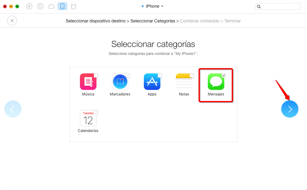 Combinar SMS desde el iPhone a otro con AnyTrans - Paso 3