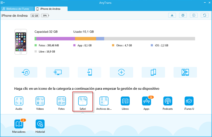 La transferencia de los marcadores de Firefox / Chrome en el PC para iPhone con AnyTrans - Paso 2