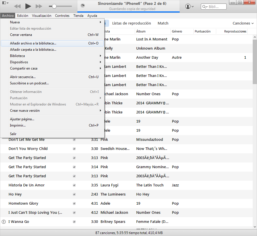 Transferir música desde el ordenador al iPod Paso 2