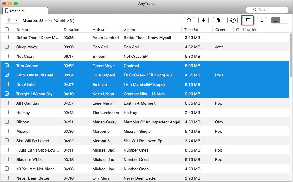 Cómo transferir música desde el iPhone a MacBook Pro / Air - Paso 3