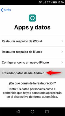 Trasladar a iOS desde Android