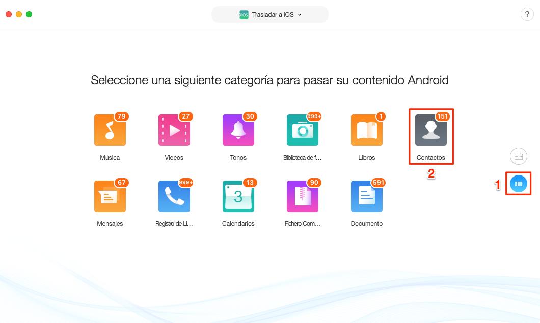 Traspasar contactos de Android a iPhone directamente - Paso 3