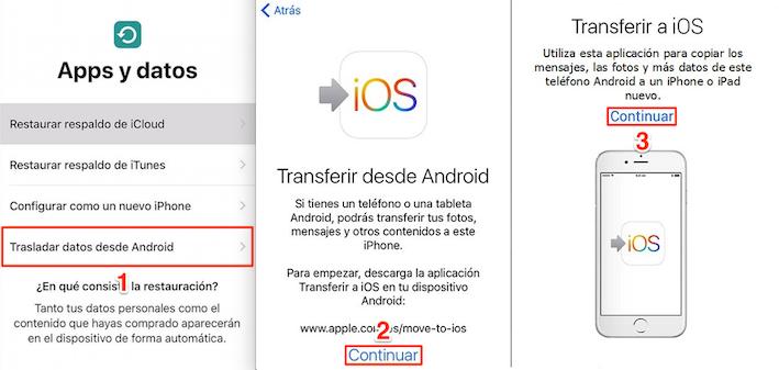 Traspasar contactos Android a iPhone con Transferir a iOS - Paso 3