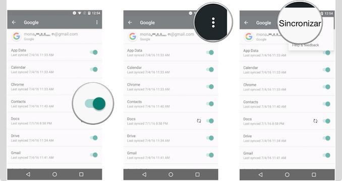 Traspasar contactos de Android a iPhone con una cuenta de Google - Paso 3
