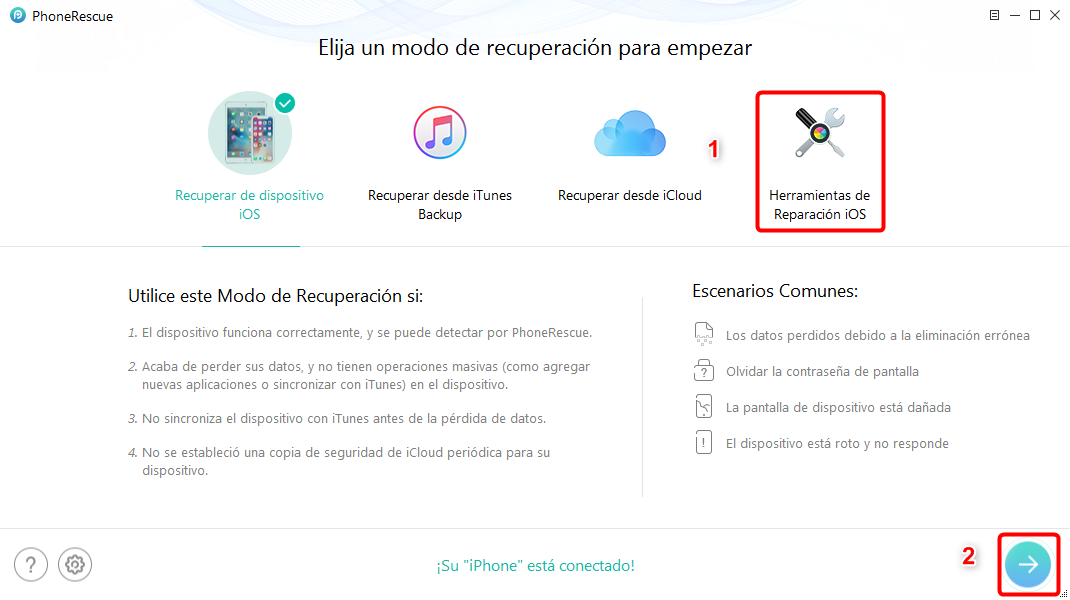 Restaurar iPhone con PhoneRescue para iOS