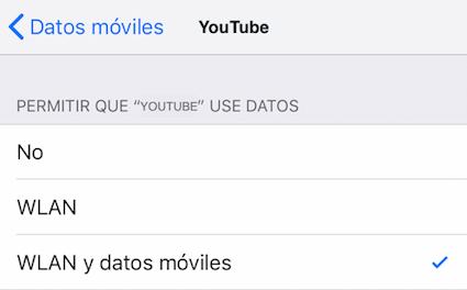 Habilitar Internet para la aplicación YouTube en tu dispositivo