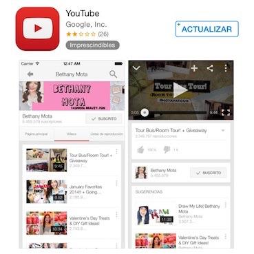 Instalar la última versión de la aplicación YouTube