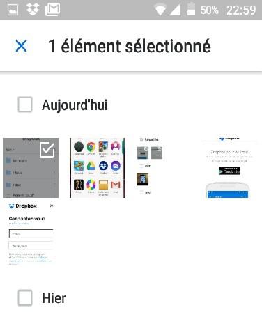 Sauvegarde des films Android sur Dropbox