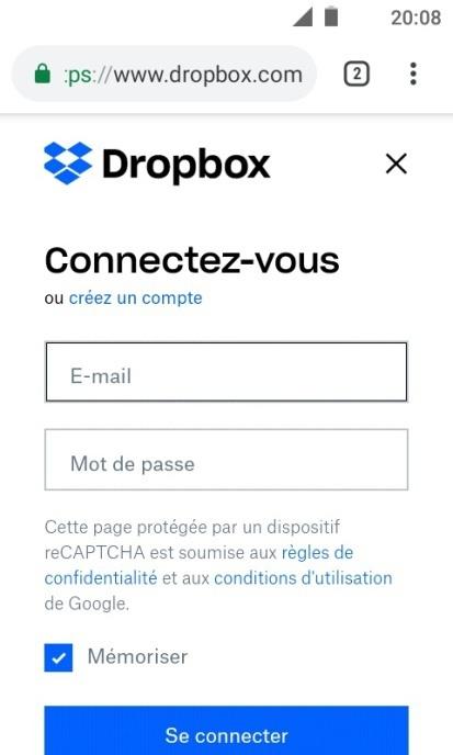 Comment importer des fichiers depuis Android vers Dropbox