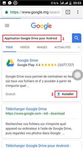 Sauvegarder les films Android vers Google Drive via App