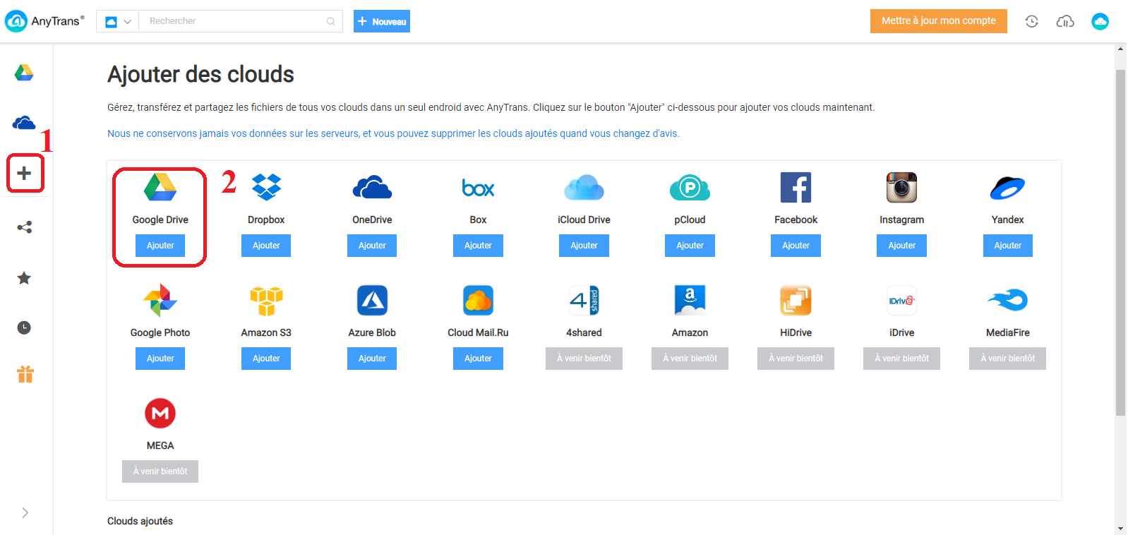 sauvegarder les films Android vers Google Drive via AnyTrans - 2