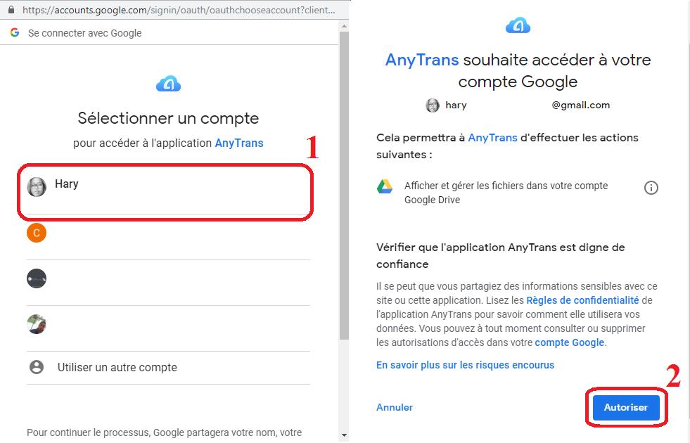 sauvegarder les films Android vers Google Drive via AnyTrans - 3