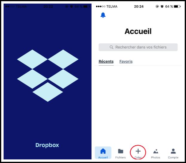 Sauvegarder vos photos via l'application mobile Dropbox- étape 1