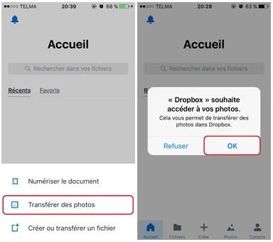 Sauvegarder photos via l'application mobile Dropbox- étape 2