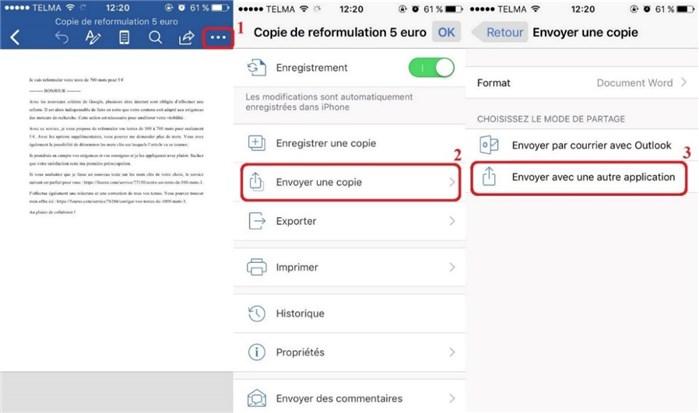 Sauvegarder Word iPhone vers Google Drive via app