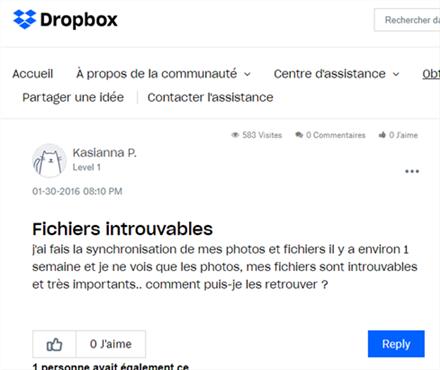 Solutions pour les fichiers introuvables Dropbox