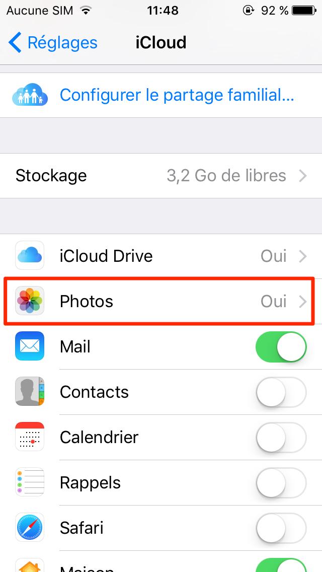 Réactiver Photos sur iCloud
