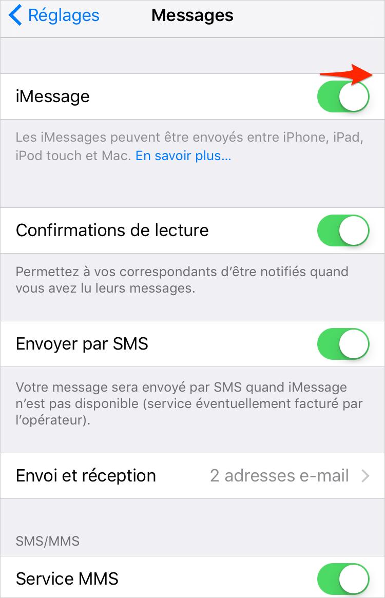 Comment activer le service iMessage sur iPhone – étape 2