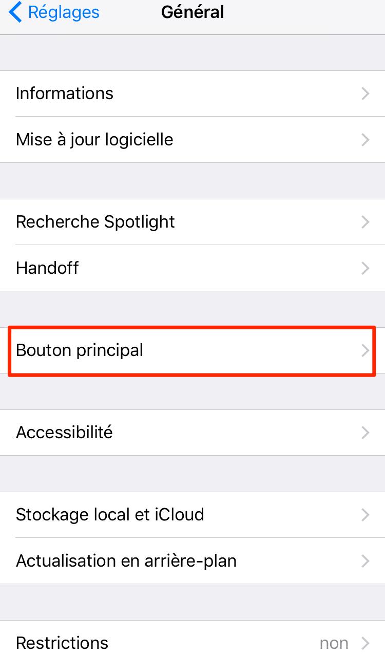 Comment choisir clic sur iPhone 7