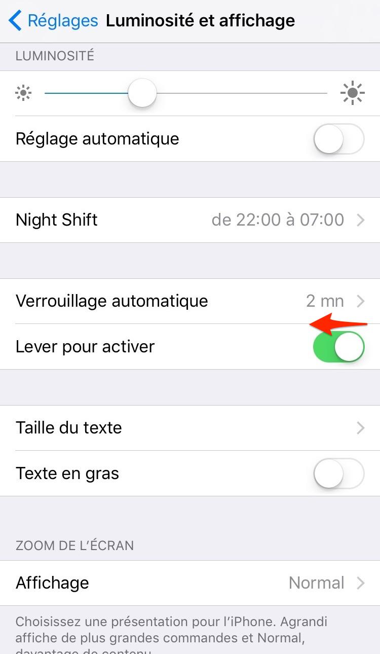 Comment désactiver Lever pour activer sur iPhone iOS 10 – étape 2