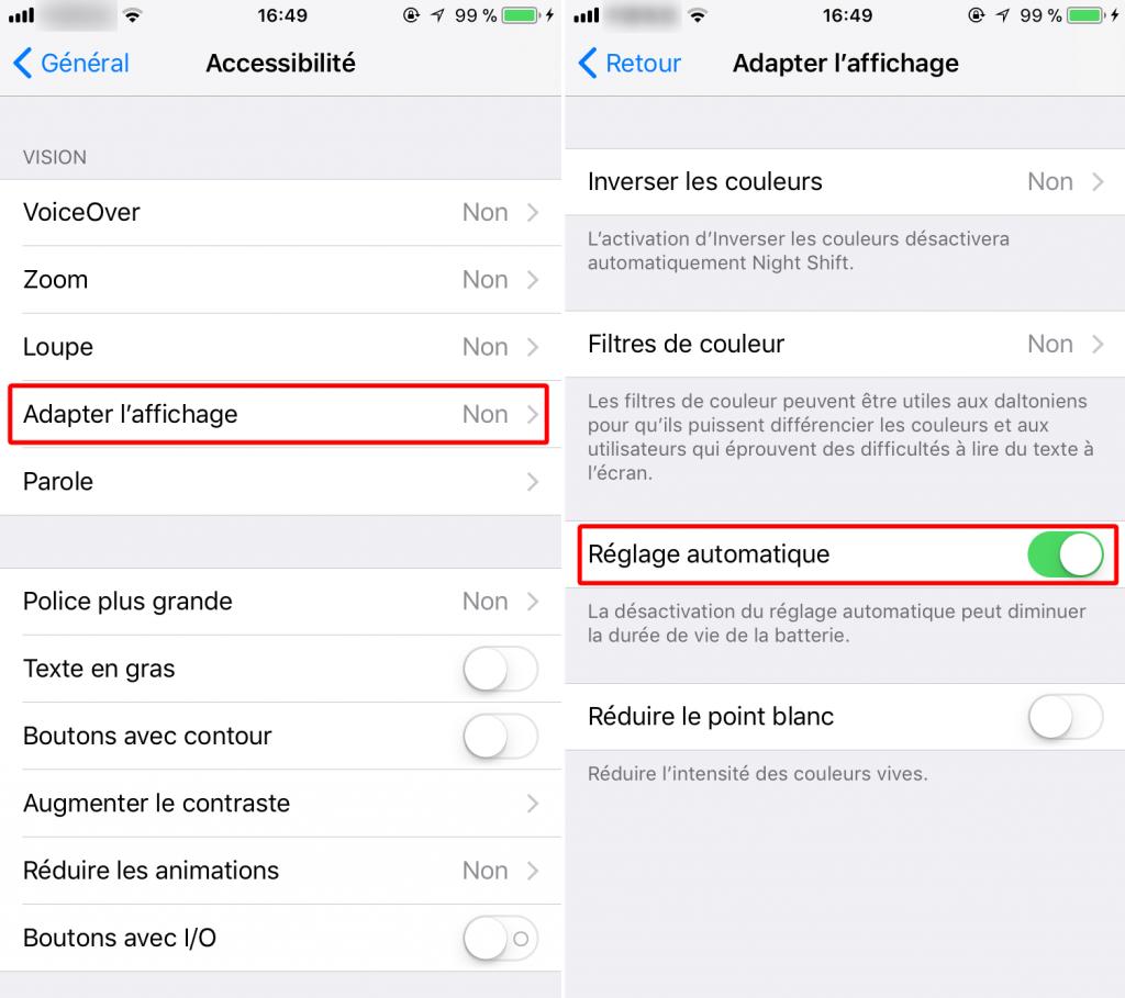 Enveler le réglage de luminosité automatique sur iOS 11/iOS 11.1