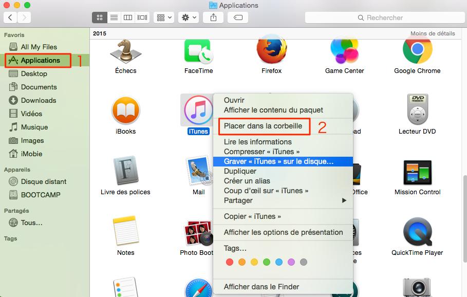Comment supprimer iTunes sur Mac