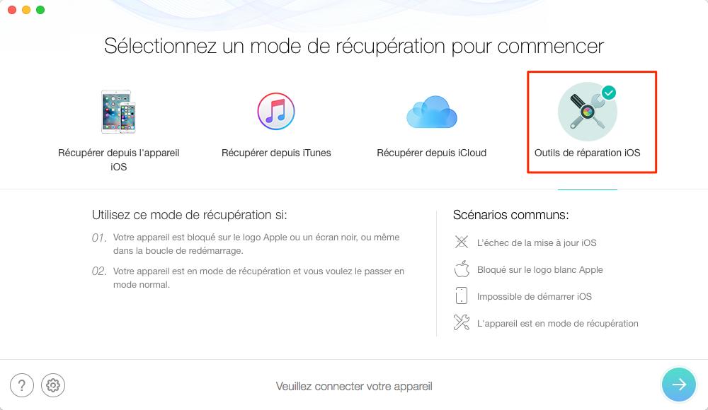 Restaurer iPhone depuis mode de récupération avec PhoneRescue