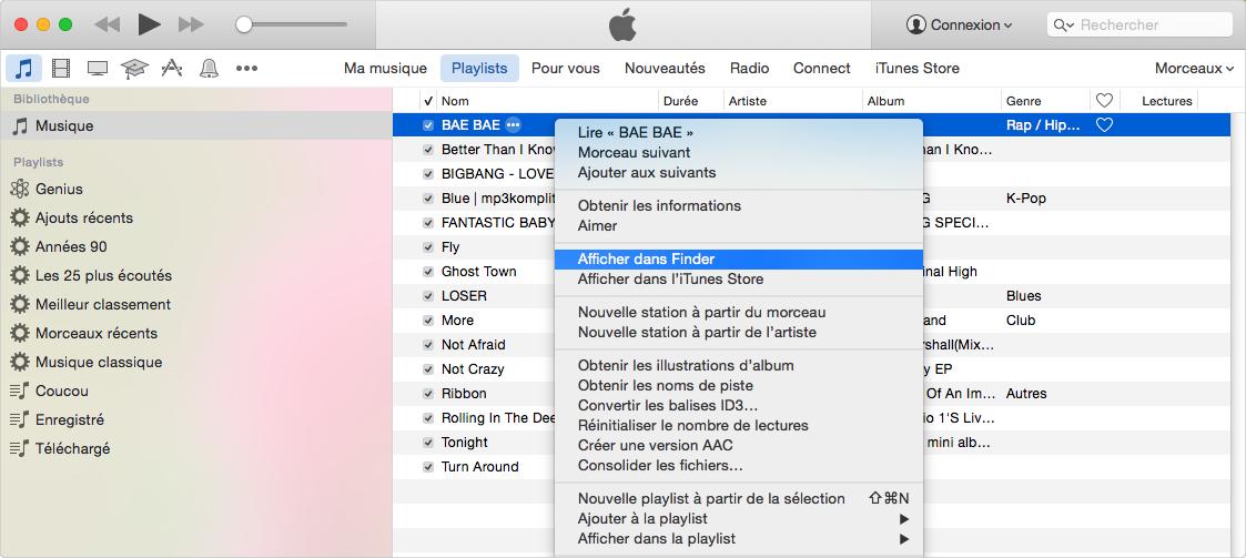 Emplacement de vos fichiers de bibliothèque musicale iTunes sur Mac