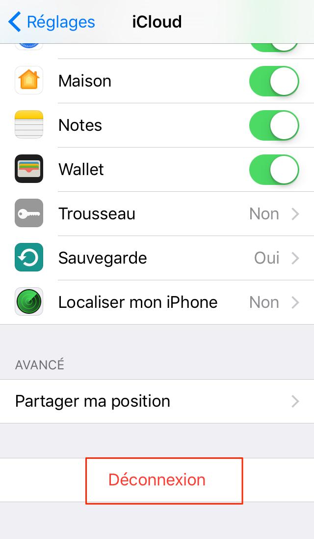 Effacer un compte iCloud – étape 2