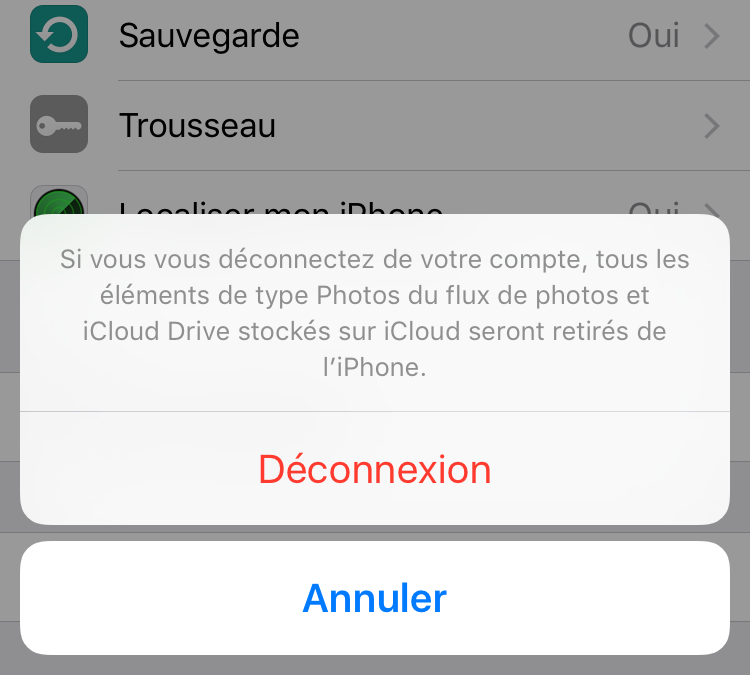 Supprimer l'identifiant Apple sur iPhone - Se déconnecter du compte iCloud