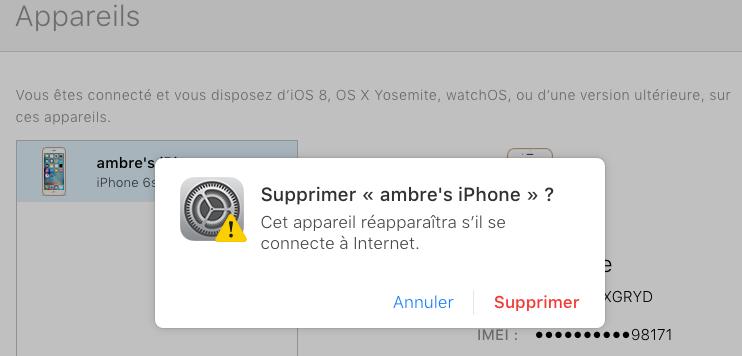 Effacer l'identifiant Apple sur iPhone - Supprimer iPhone depuis iCloud