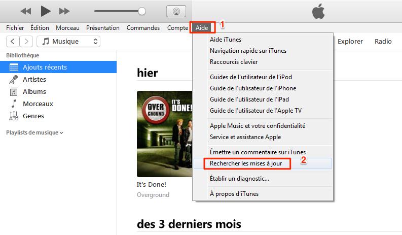 Rechercher les mises à jour iTunes sur PC