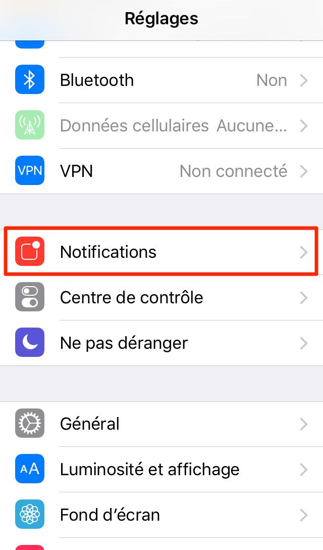 Utilisation des notifications iPhone