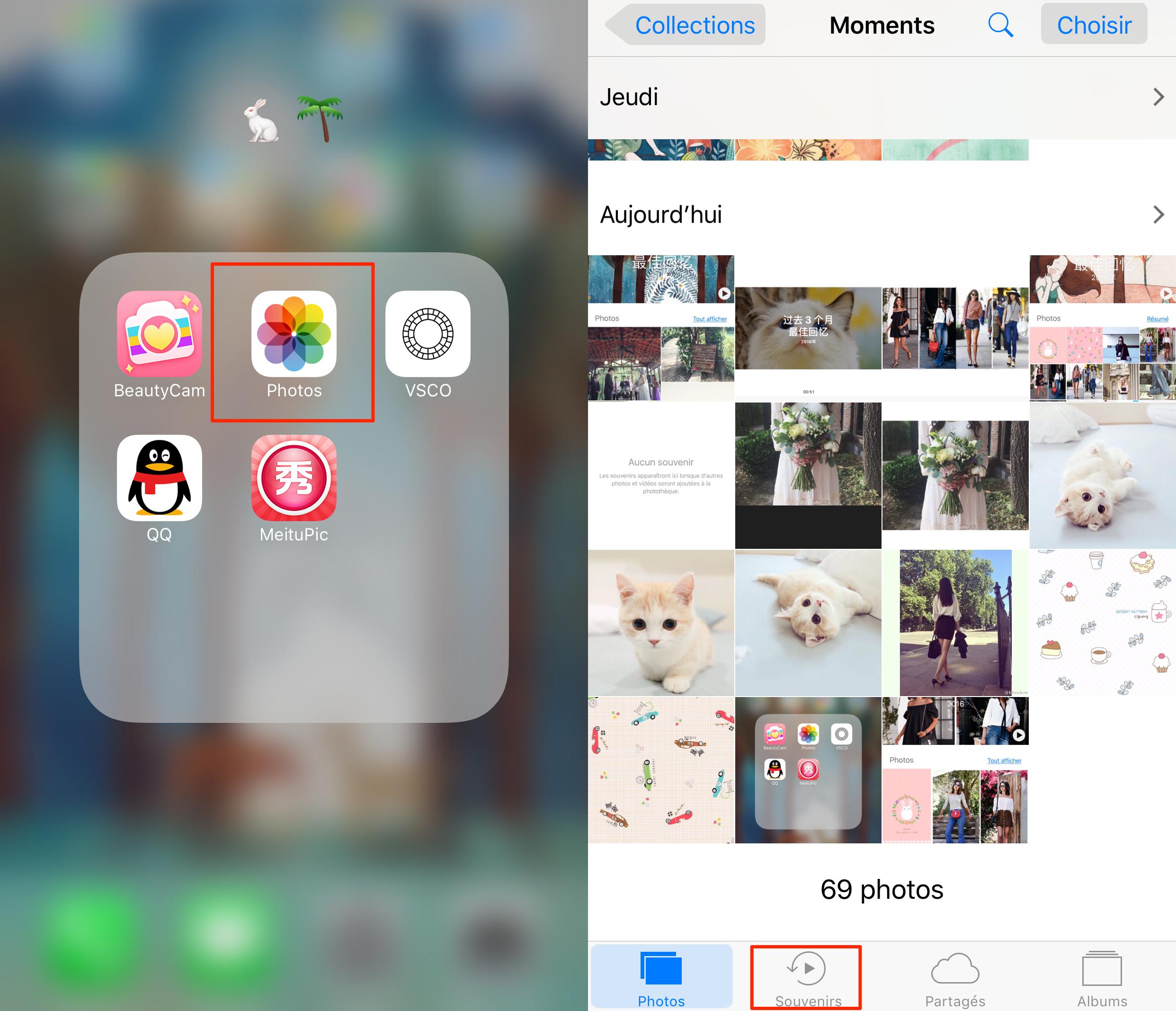 Choisissez les souvenirs sur iPhone