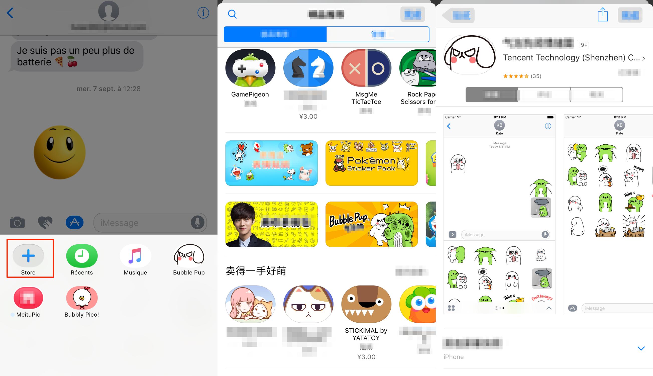Ajouter les stickers depuis App Store