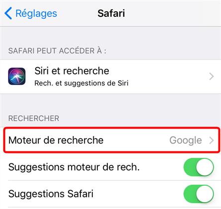 Changer le moteur de recherche Safari sur iPhone - étape 2