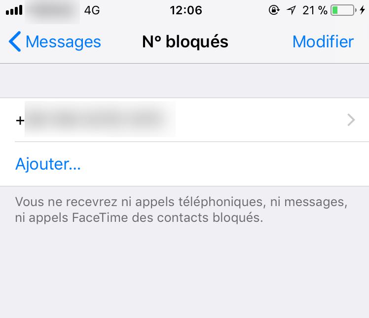 Ajouter ou supprimer un numéro bloqué sur iPhone