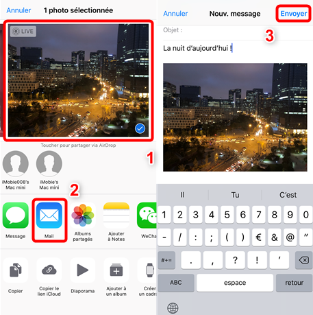 Ajouter une pièce jointe à l'e-mail iPhone